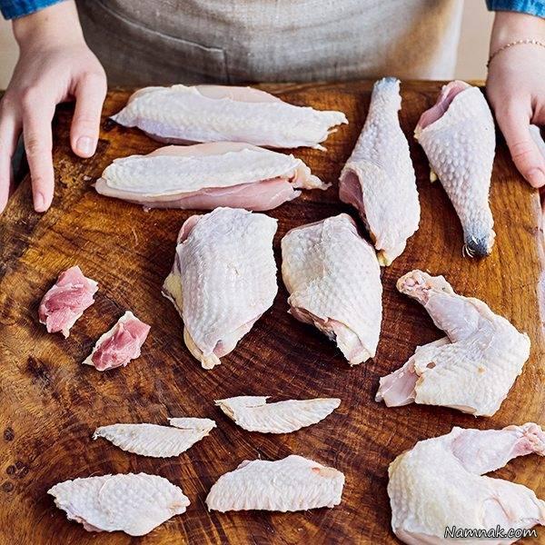 آموزش مرحله به مرحله خرد و تکه کردن مرغ
